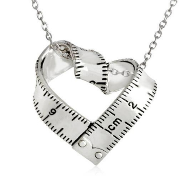 Heart Shaped Measuring Tape Pendant Necklace